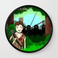 daryl dixon Wall Clocks featuring Daryl Dixon by Dan Solo Galleries