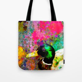 mallard duck with pink green brown purple yellow painting abstract background Tote Bag