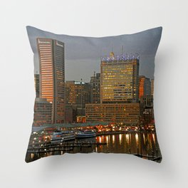 Inner Harbor Baltimore Skyline at Dusk, Federal Hill, Waterfront  Throw Pillow