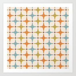 Mid Century Modern Star Pattern 817 Orange Brown Blue and Olive Green Art Print