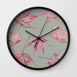 Japanese maple leaves - apricot on light khaki green Wall Clock