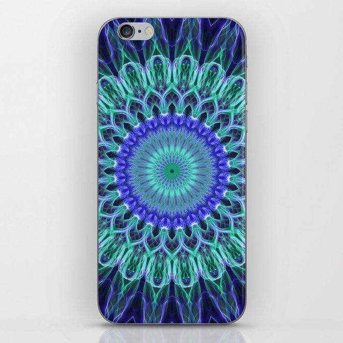 Blue and pastel green mandala iPhone Skin