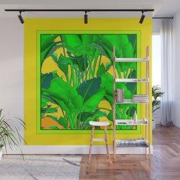 YELLOW GREEN & GOLD TROPICAL  GREEN FOLIAGE ART Wall Mural
