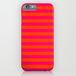Orange Pop and Hot Neon Pink Horizontal Stripes iPhone Case
