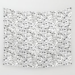 Pugs Line Drawing Wall Tapestry
