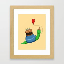 Birthday Snail (Blue/Green) Framed Art Print