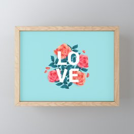Love Typography with Floral Background Framed Mini Art Print