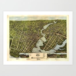 Vintage Pictorial Map of Bridgeport CT (1875) Art Print
