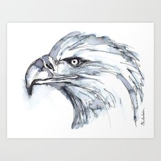 Eagle Portrait (Watercolor Sketch) Art Print