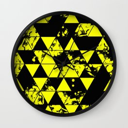 Splatter Triangles In Black And Yellow Wall Clock