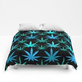Marijuana Teal Turquoise Weed Comforters