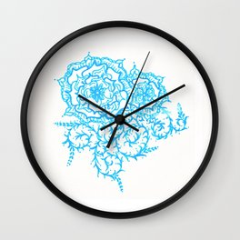 46. Thorns, Thistles, Nettles in Blue with Henna Rosa Wall Clock