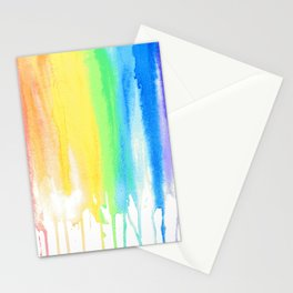 Rainbow Watercolor Drip Stationery Cards