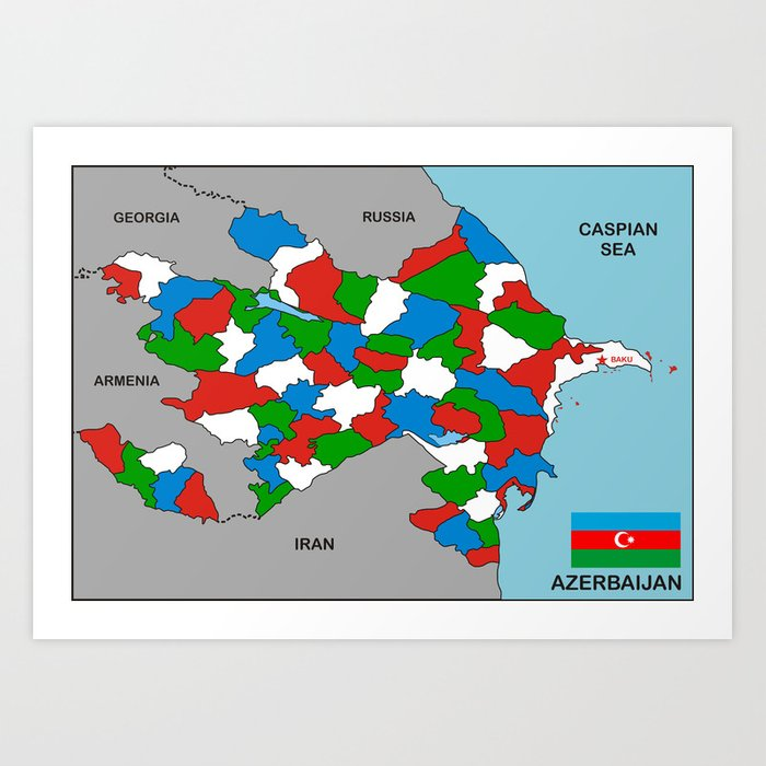 Political Map Of Azerbaijan Country With Flag Art Print By Tony4urban Society6
