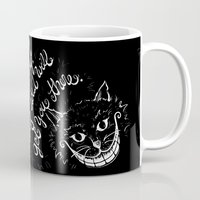 cheshire Mugs featuring Cheshire Cat by Kellabell9