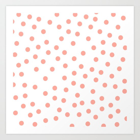 Simply Dots in Salmon Pink on White Art Print