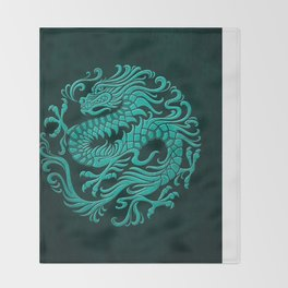 Traditional Teal Blue Chinese Dragon Circle Throw Blanket