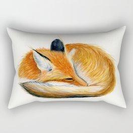Sleeping Fox Watercolor Painting Rectangular Pillow