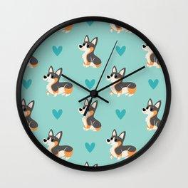 Tri-Color Corgi Pups Wall Clock