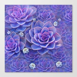 """""""Bouquet of pastel violet exotic succulents"""" Canvas Print"""