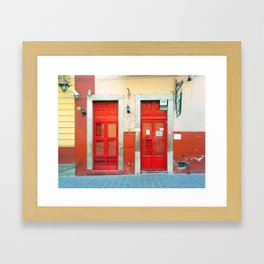 Red doors in Guanajuato Mexico Framed Art Print