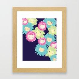Happy Flower Faces Framed Art Print