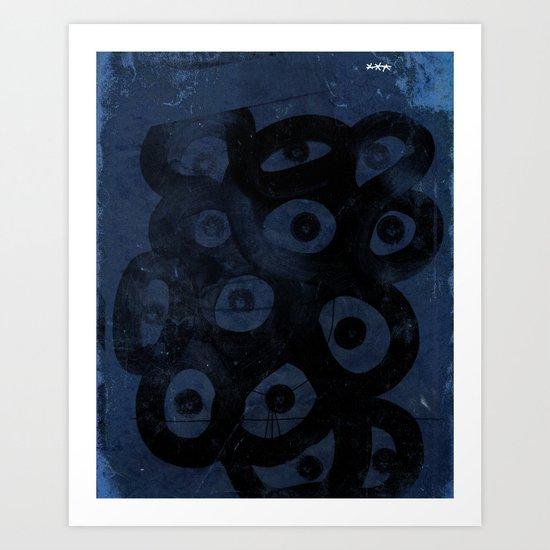 Dark Blue on Blue Art Print