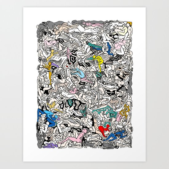 Rainbow LOVE Bodies Art Print