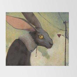 Melancholic rabbit Throw Blanket
