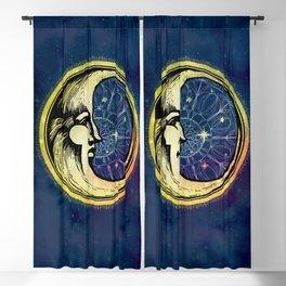 Celestial Antique Man In The Moon Watercolor Batik Blackout Curtain