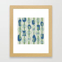 Mod Blobs in blue and greens Framed Art Print
