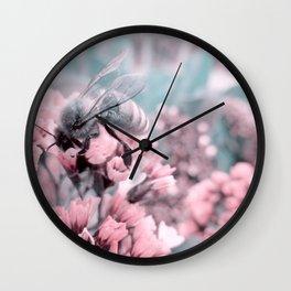 Honey Bee on Pale Pink Flowers Wall Clock