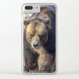 BROWN BEAR WALKING TOWARD CAMERA Clear iPhone Case