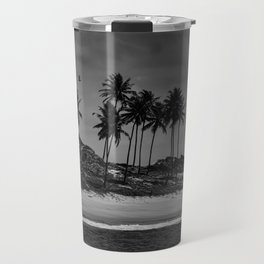 Black and white photo of a Brazilian northeast beach Travel Mug