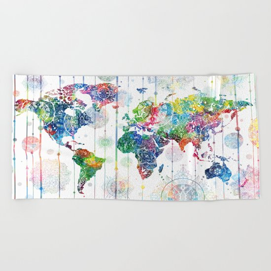 world map mandala white Beach Towel