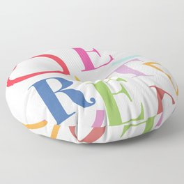 Coloured Overrated Text Floor Pillow