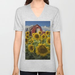 Golden Blooming Sunflowers with Red Barn Unisex V-Neck