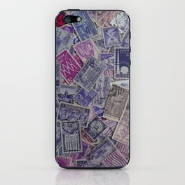 Vintage Postage Stamp Collection - Purple iPhone Skin
