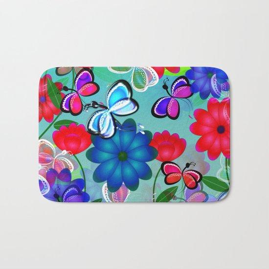 Abstract Butterflies with Flowers (Blue) Bath Mat