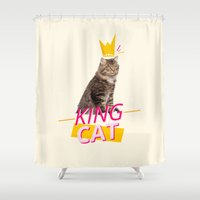 kit king Shower Curtains featuring King Cat by Kit & Cat