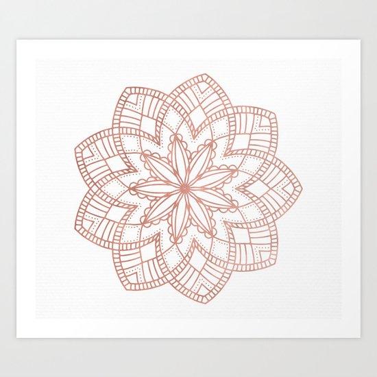 Mandala Posy Flower Rose Gold on White Art Print