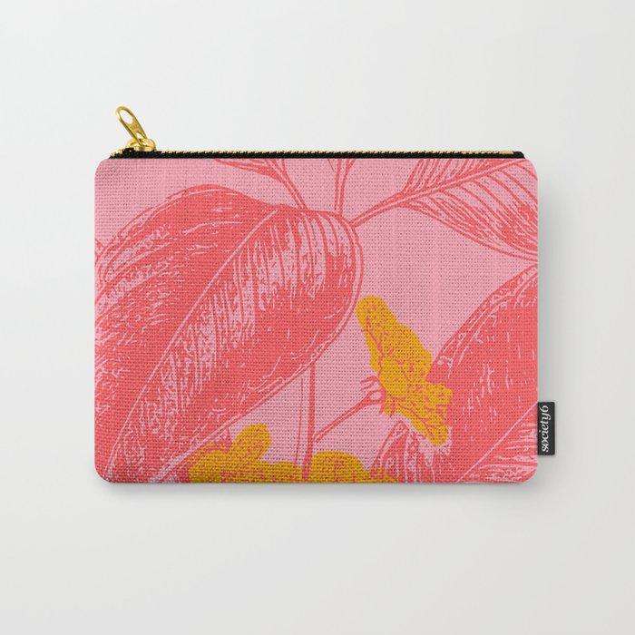 Modern Botanical Leaves in Pink Carry-All Pouch