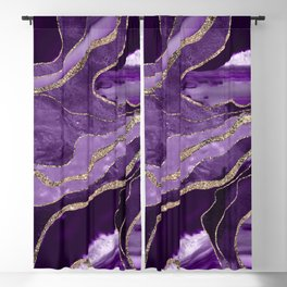 Purple Marble Agate Gold Glitter Glam #1 (Faux Glitter) #decor #art #society6 Blackout Curtain