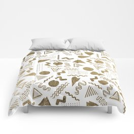 Retro abstract geometrical faux gold white 80'spattern Comforters