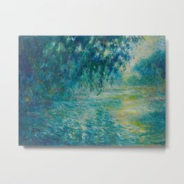 Claude Monet Morning on the Seine Oil Paintng Metal Print