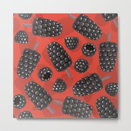 Blackberry and blackberry ice cteam pattern Metal Print