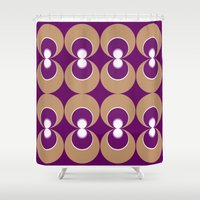70s Shower Curtains featuring 70s Purple circles by Cdill