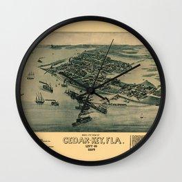 Map of Cedar Key 1884 Wall Clock