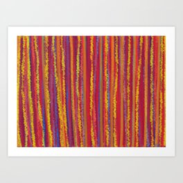 Stripes  - Cheerful yellow orange red and blue Art Print