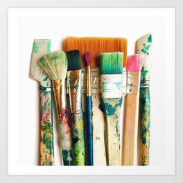 pretty paintbrushes on a white background table Art Print